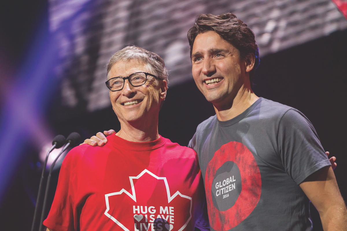 Bill Gates and Prime Minister Justin Trudeau at the 2016 Global Citizen Concert to End AIDS