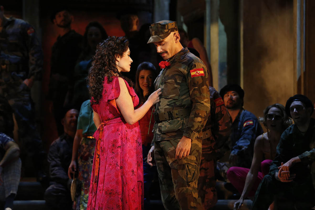 Rinat Shaham as Carmen and Adrian Tamburini as Zuniga in Opera Australia's production of Carmen at Arts Centre Melbourne.
