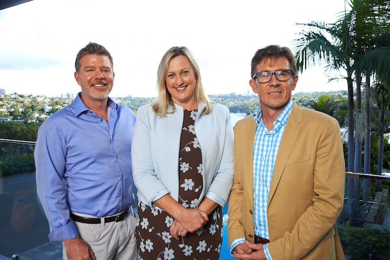 Thred's board of directors: Co-founder Chris Adams, Robyn Foyster, and Thred MD Geoff Marshall.