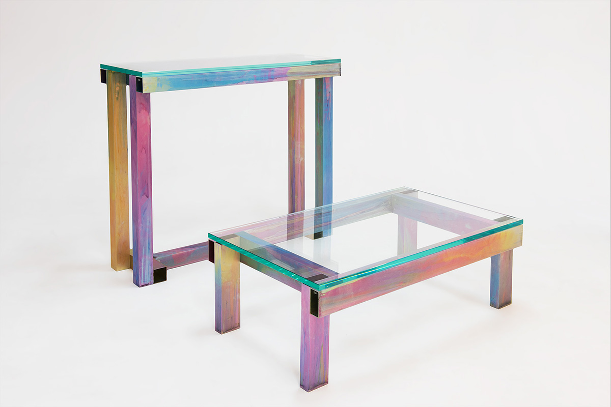 Anodized console and coffee table, 2017 by Fredrik Paulsen
