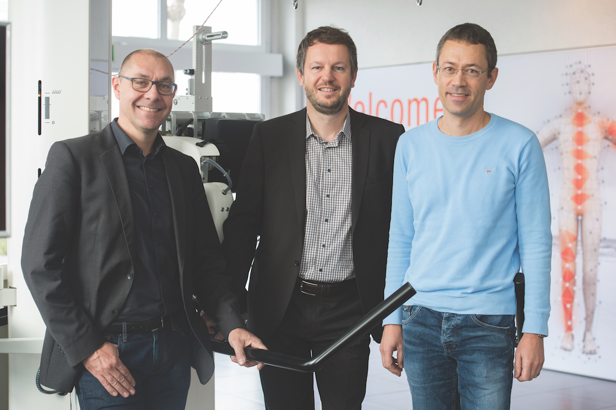 Hocoma founders: Dr Peter Hostettler, Dr Gery Colombo and Matthias Jörg.