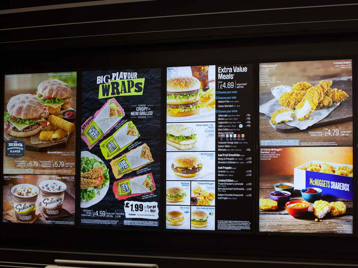 MacDonalds menu