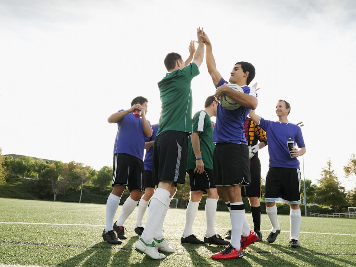 soccer team playing soccer
