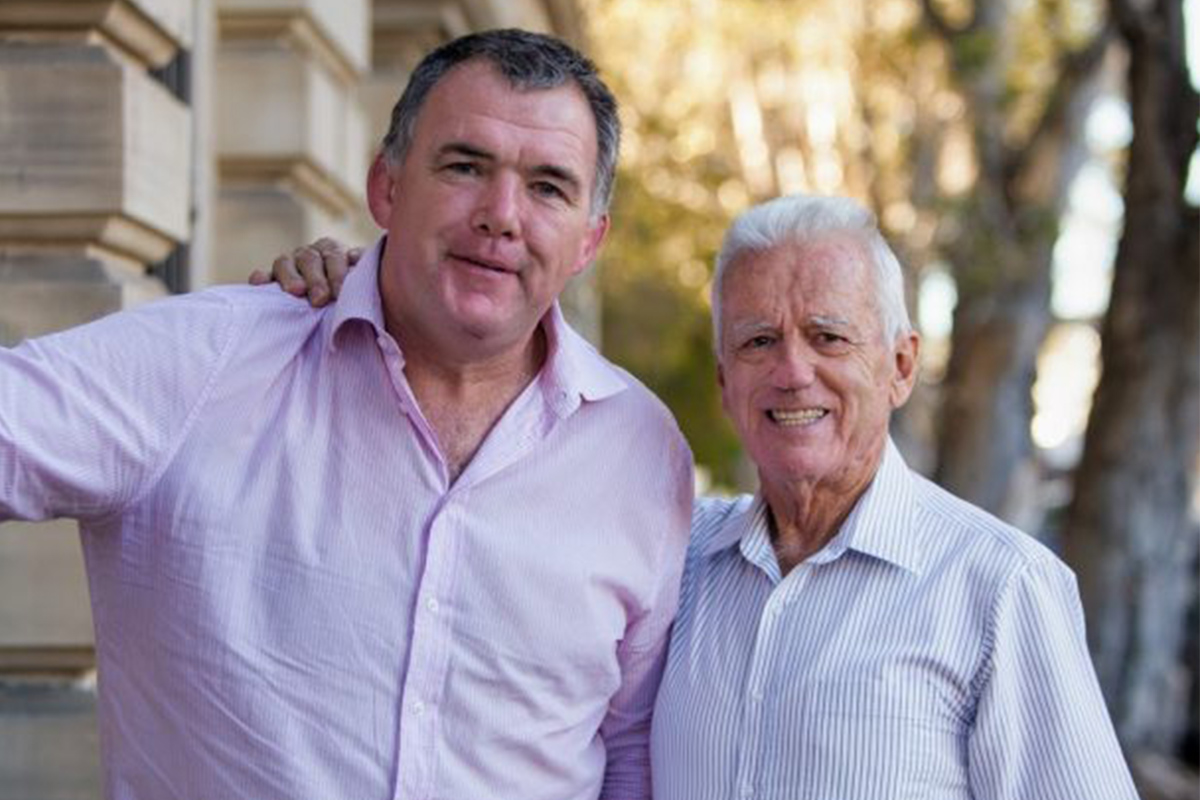 Owen Finegan with The Kids' Cancer Project Founder Col Reynolds OAM