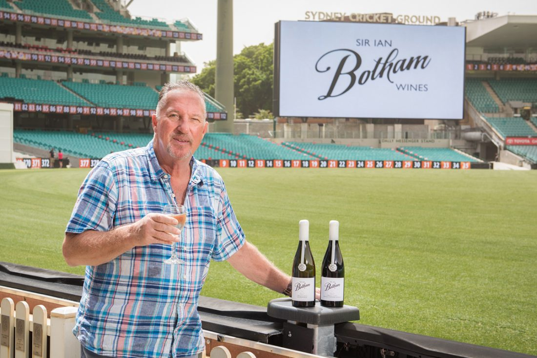 Cricket legend Sir Ian Botham launches wine range at Sydney's SCG