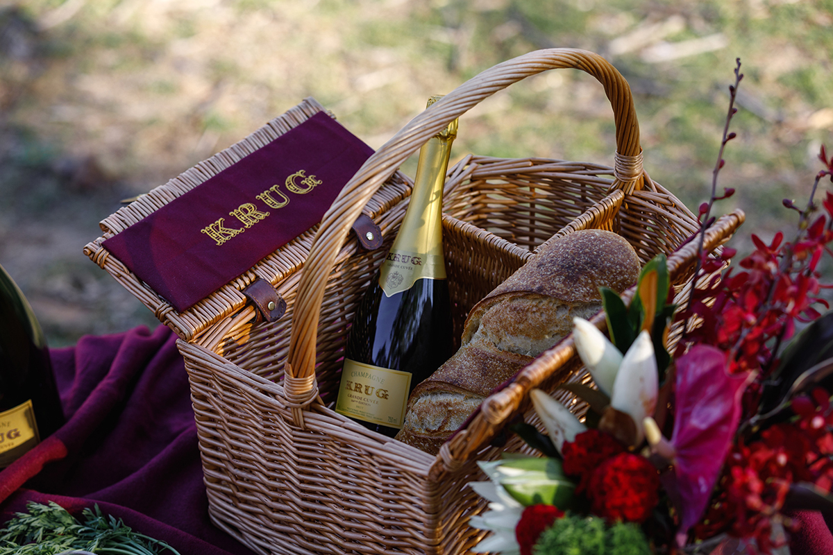 Krug Champagne picnic Wolgan Valley Blue Mountains