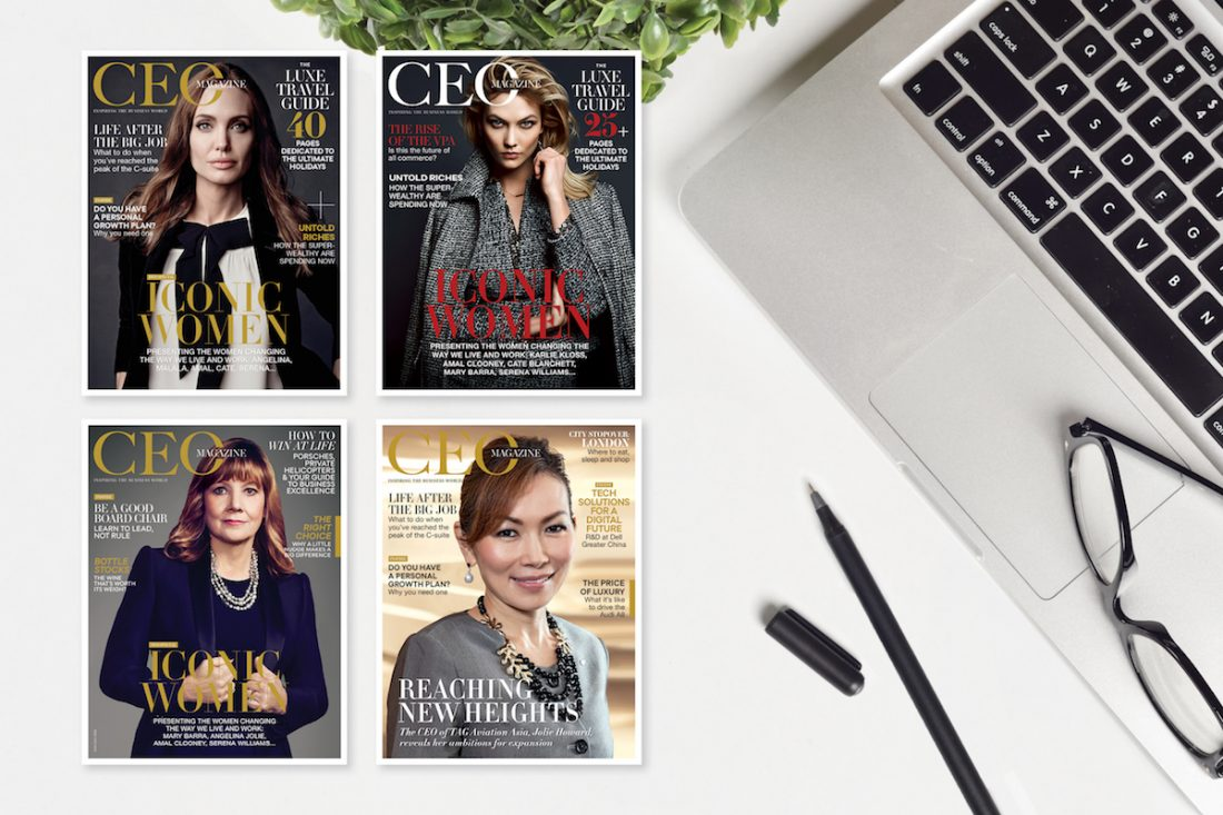 Four covers of The CEO Magazine's March editions