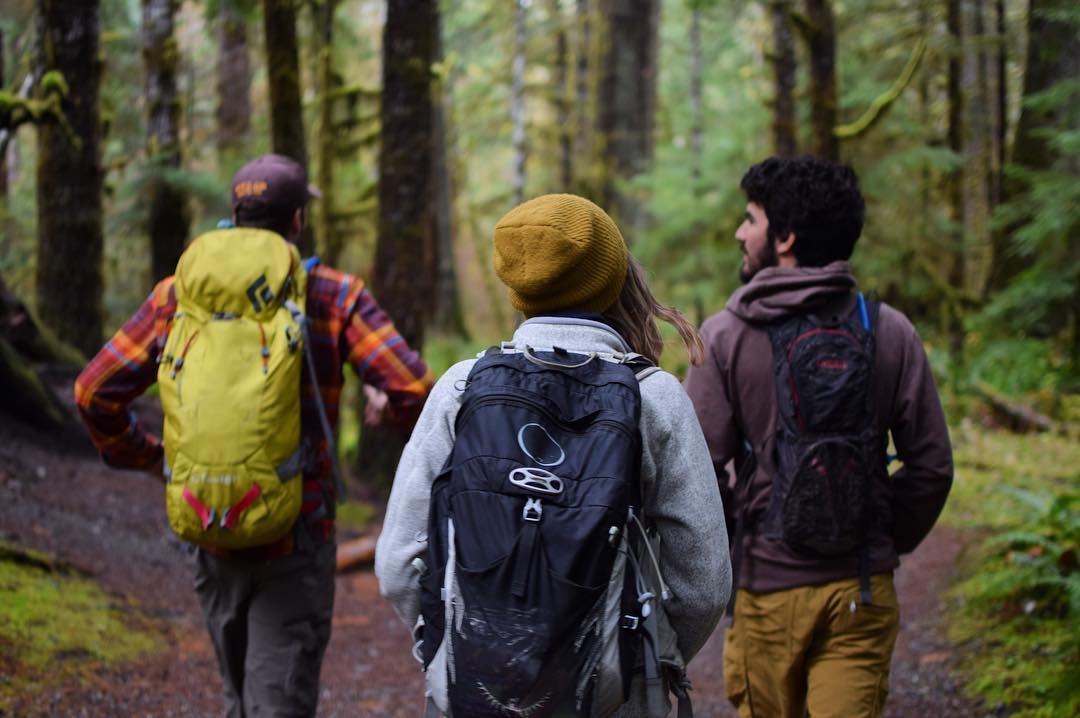 REI employees hiking on their Yay Day