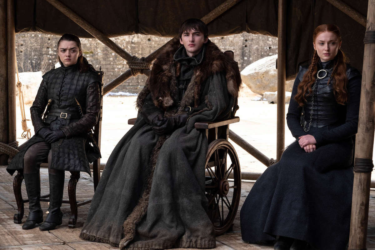 Isaac Hampstead-Wright, Maisie Williams and Sophie Turner in HBO's Game of Thrones