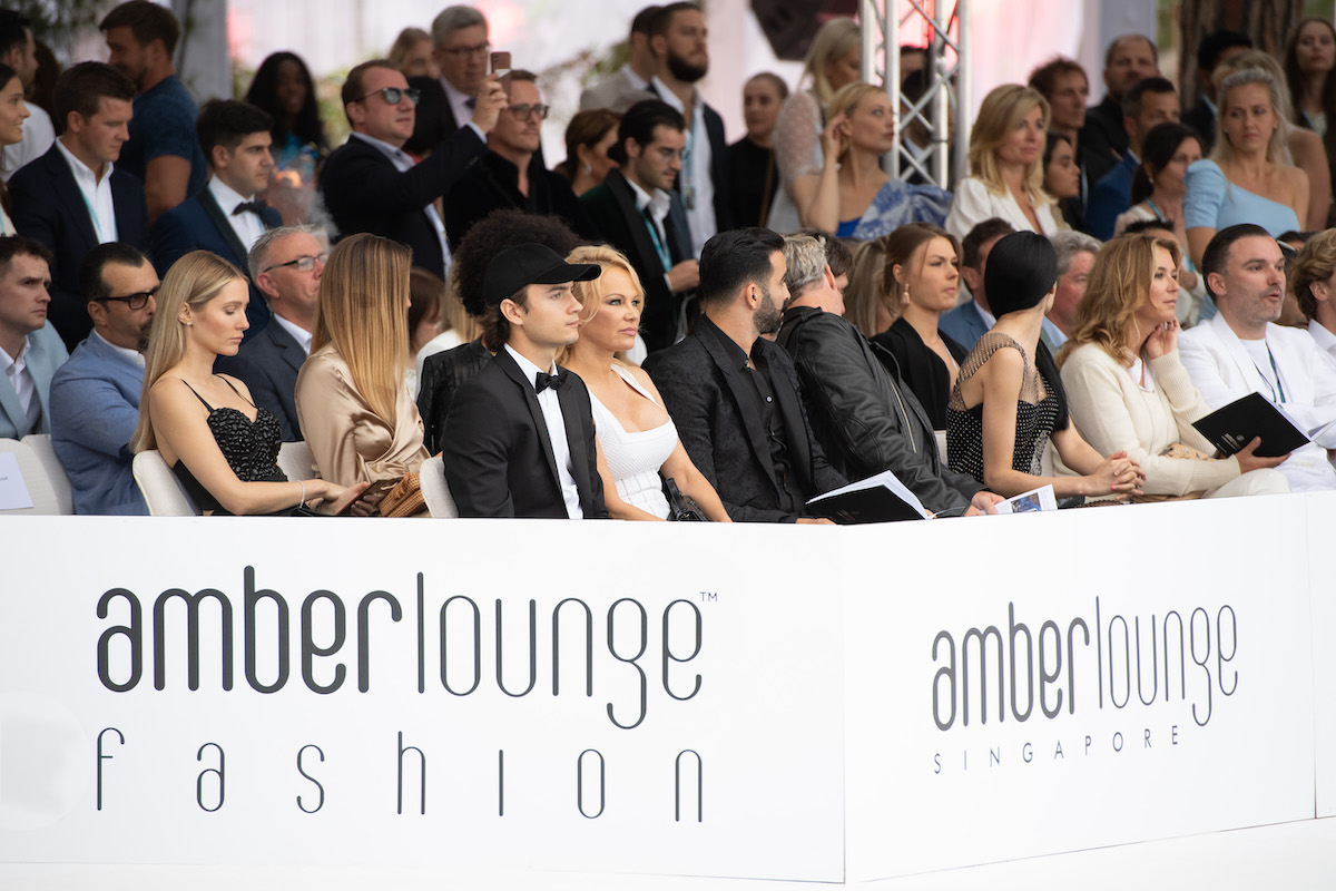 Pamela Anderson at the Amber Lounge fashion show in monaco