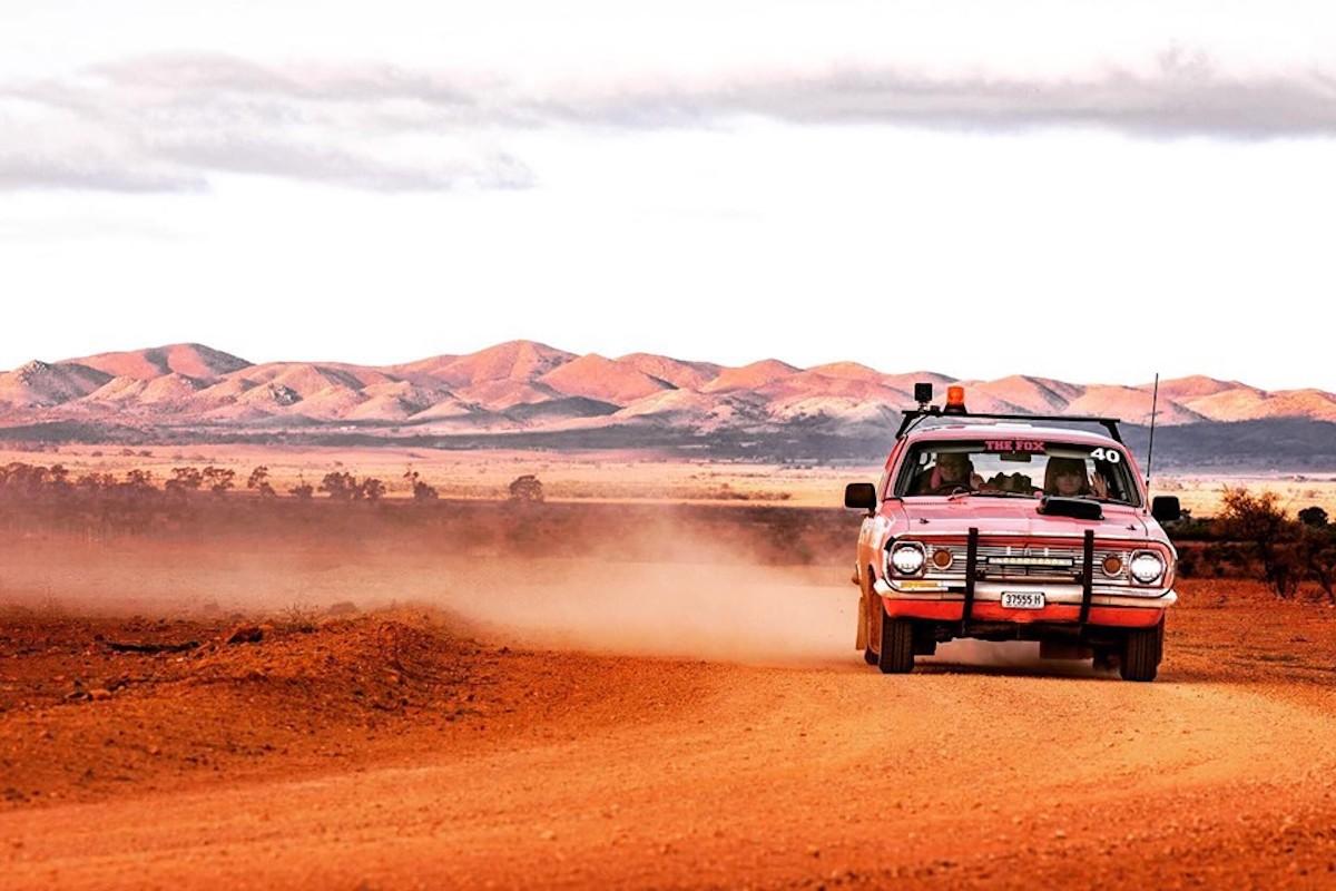 HR Holden drives through the Flinders Ranges during the Outback Car Trek