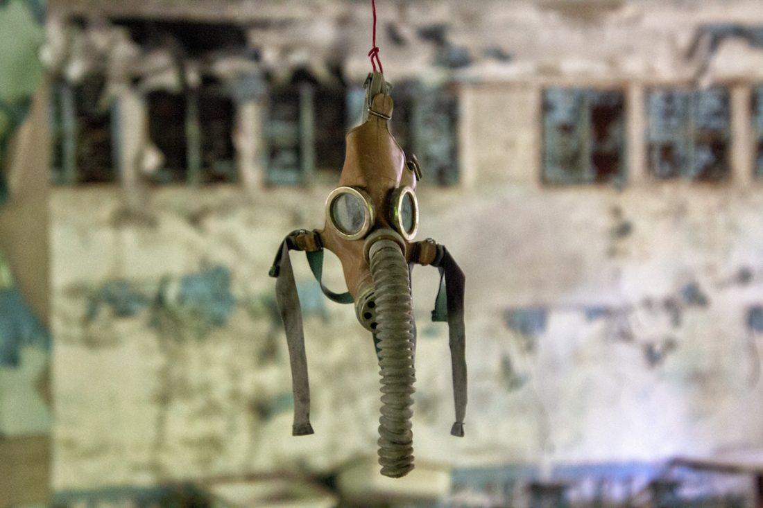 Gas mask in Pripyat, Ukraine