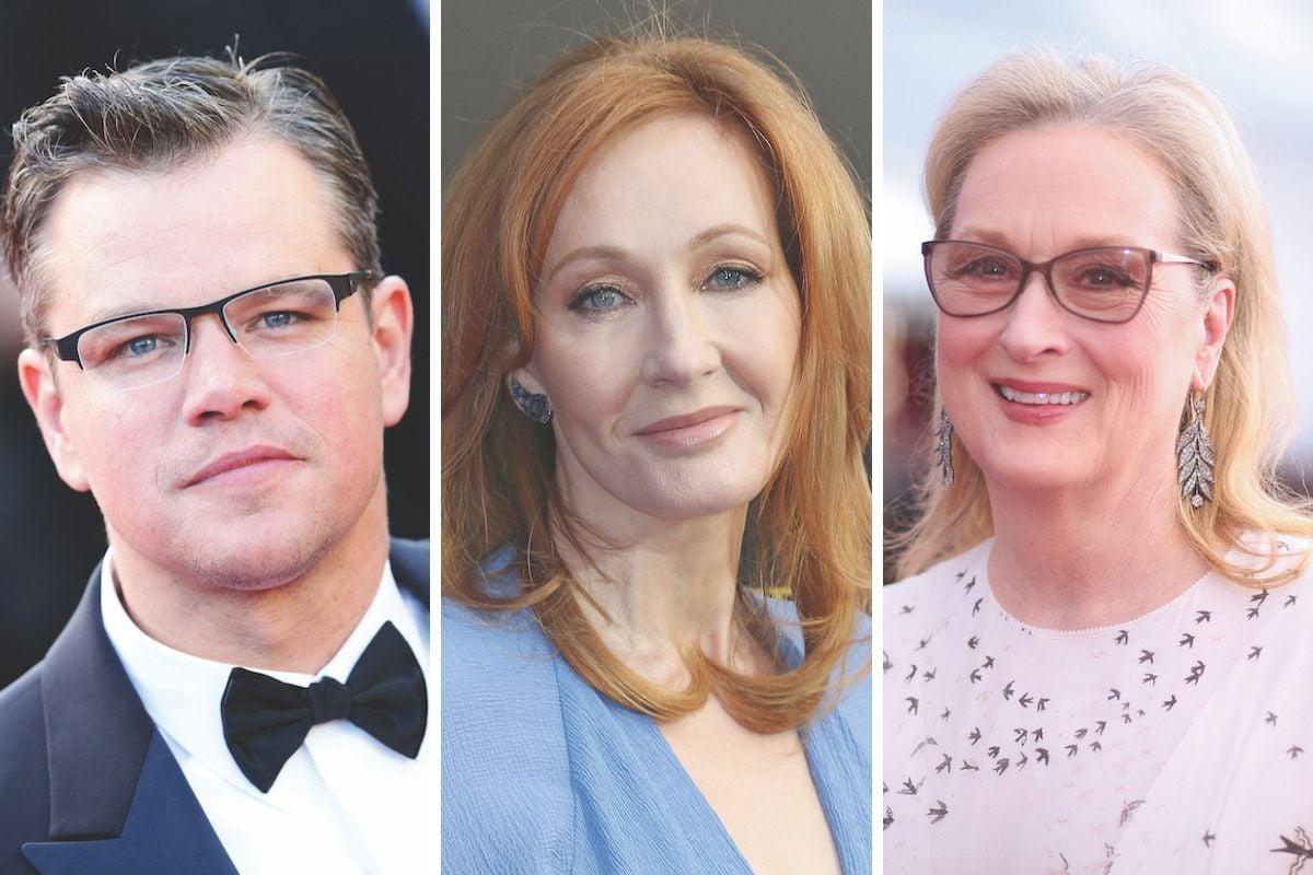 Matt Damon, Meryl Streep, JK Rowling among celebrities donating millions to charity.