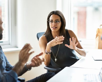 Professional woman conducting performance review