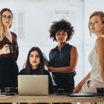 Female leaders and CEOs in a startup business team