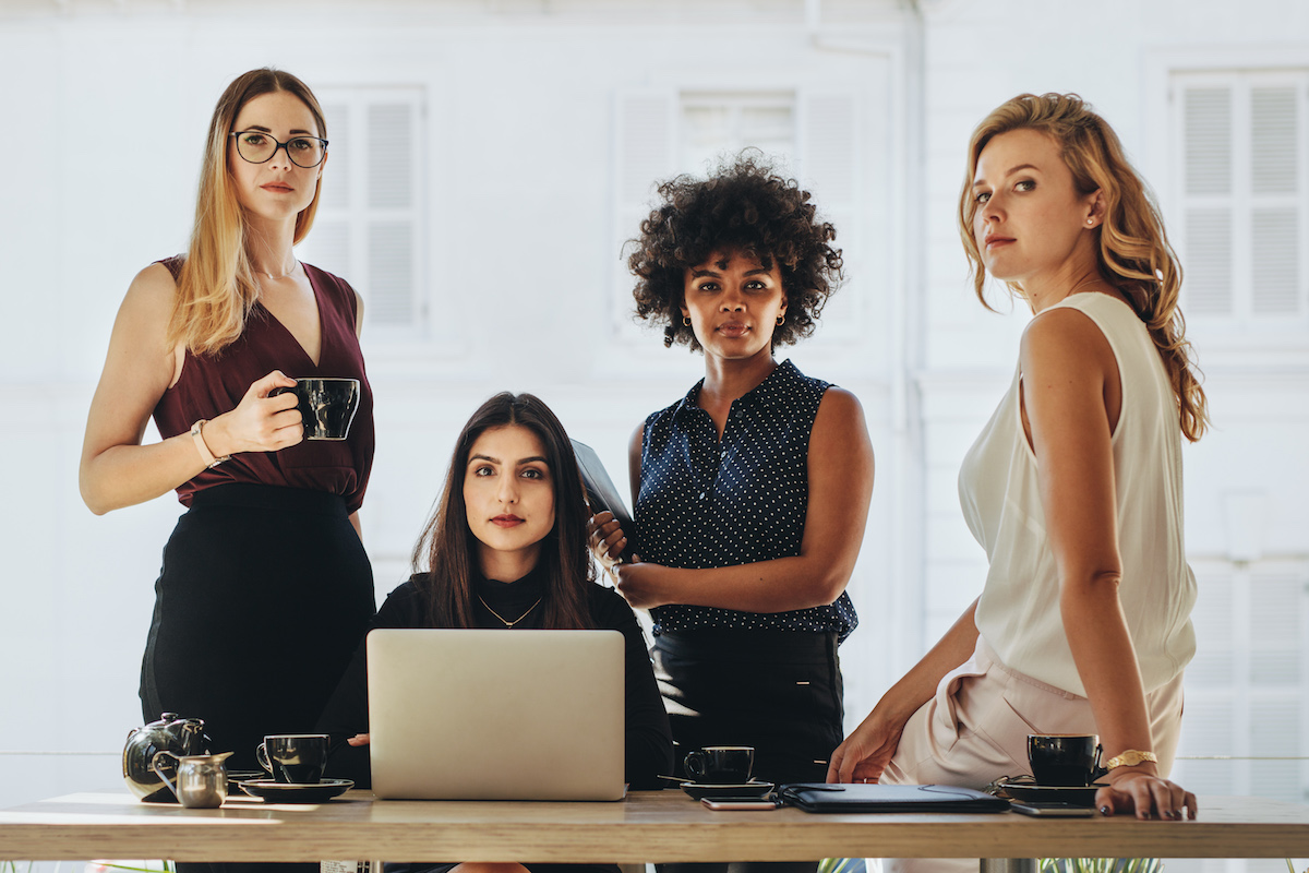 Female CEOs and leaders in a startup business team