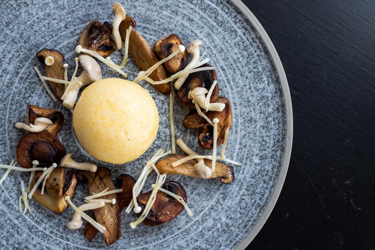 White polenta with confit mushrooms