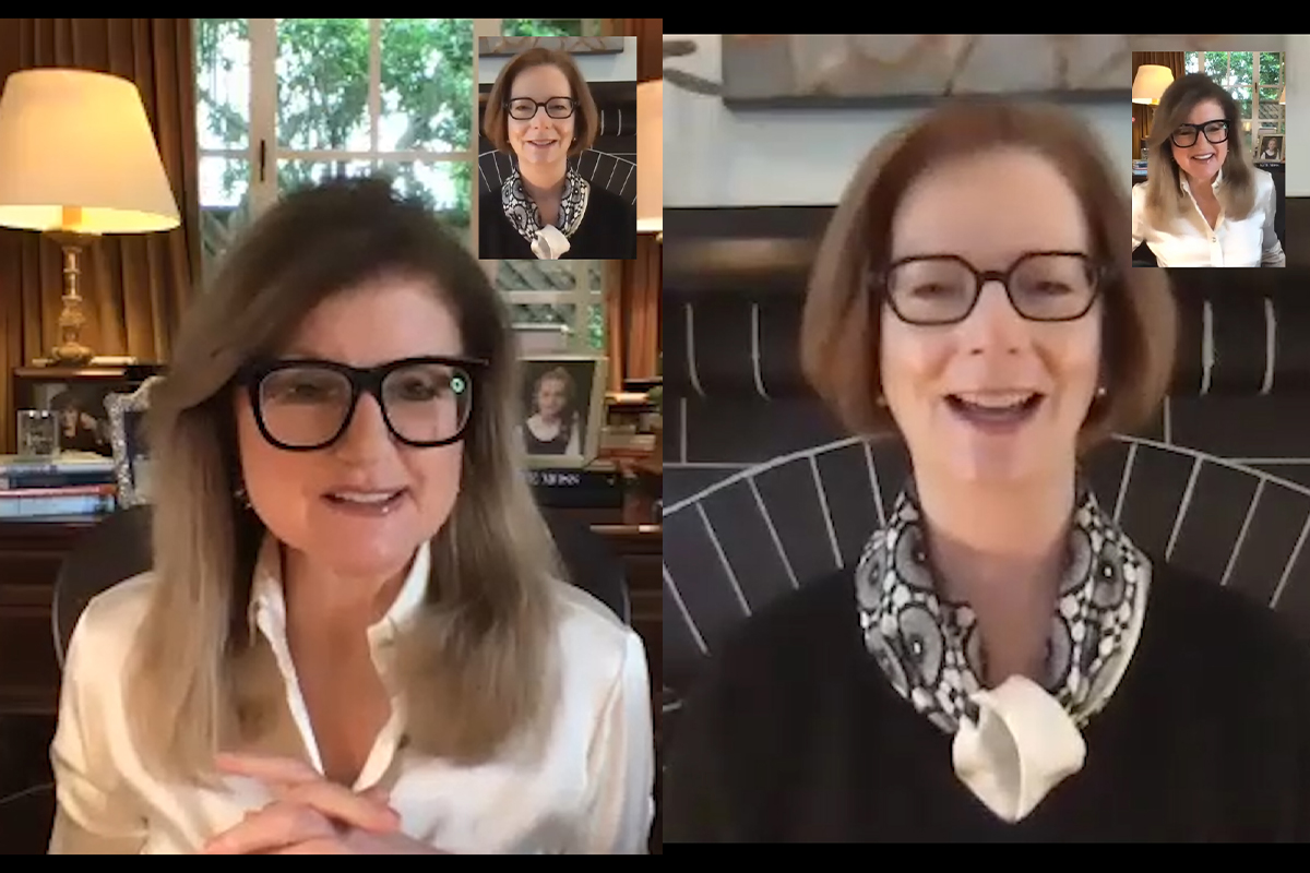 Arianna Huffington and Julia Gillard